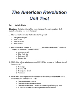 The American Revolution - Editable Test with Study Guide, Answer Sheet and Key