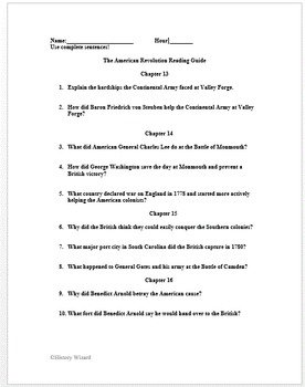 The American Revolution Landmark Books Reading Guide and Answer sheet