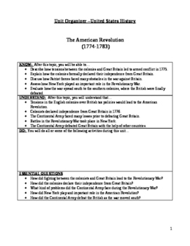 The American Revolution Unit Plan/Organizer for Students