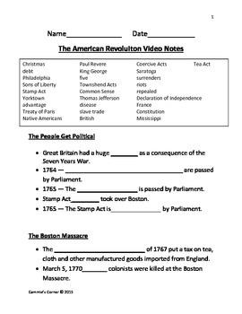 The American Revolution Video Notes- Schlessinger Media