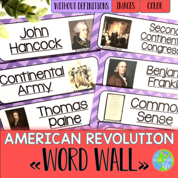 American Revolution Word Wall without definitions