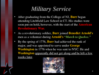 American Revolutionary War - Key Figures - Aaron Burr