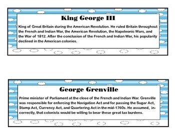 The American Revolutionary War Common Core Aligned Literacy Cards