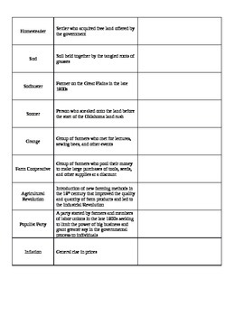 The American West Transformed (Expansion & Settlement) Vocabulary 3 Column Chart