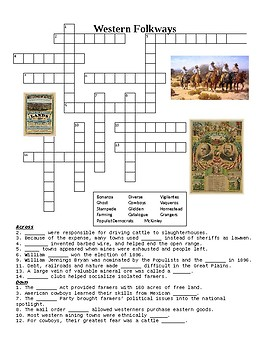 The American West: Western Folkways Crossword or Web Quest