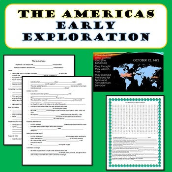 The Americas- Early Exploration PowerPoint, Notes, Word Search