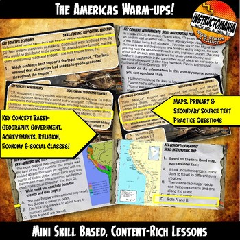 The Americas Investigation Warm-Ups Skill Based, Aztec, Maya, Inca, Mini Lessons