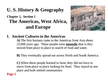 The Americas, West Africa, and Europe-Chapter 1, Section 1