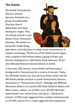 The Amish Handout