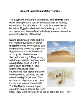 The Ancient Egyptians and their Tombs Common Core Activities