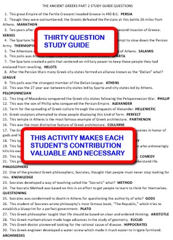 The Ancient Greeks Part 2:  Share-Sheets Activity