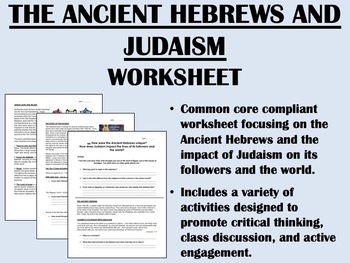 The Ancient Hebrews and Judaism worksheet - Global/World History Common Core