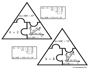 The Angle Addition Postulate Cut, Paste, Solve, Match Puzzle Activity