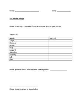 The Animal Boogie:  Speech Therapy homework