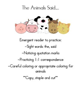 Emergent Book with sight words: the,said-The Animals Said...