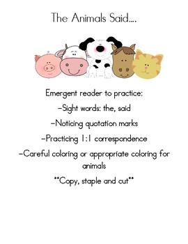 SAID-Emergent sight word book-The Animals Said...