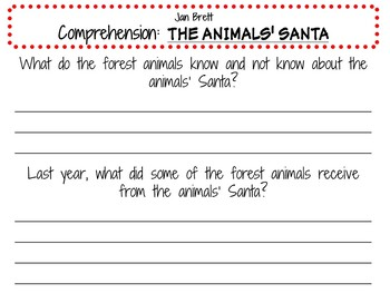 The Animals' Santa by Jan Brett:  A Complete Literature Study!