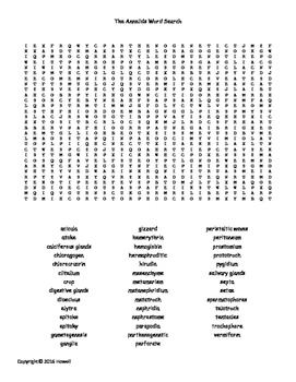 The Annelids Vocabulary Word Search for Invertebrate Biology