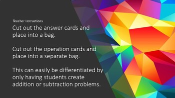 The Answer Is....Create a math word problem center