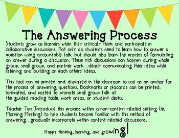 The Answering Process for Critical Thinking and Discussion