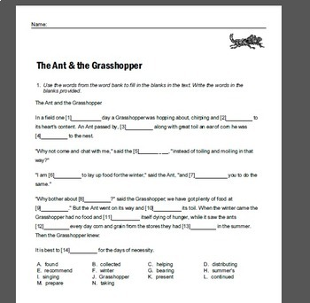 Fables Activities   Aesop Fables   Fables Worksheets