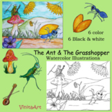 The Ant and The Grasshopper Aesop's Fables Watercolor Illustration clipart