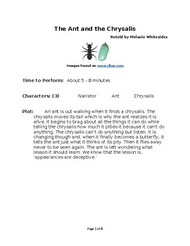 The Ant and the Chrysalis - Small Group Reader's Theater by Aesop