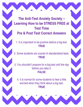 The Anti-Test Anxiety Society Pre/Post Test