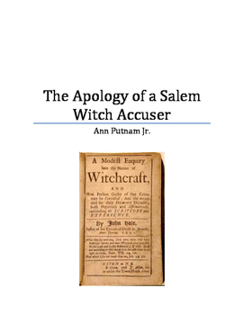 The Apology of a Salem Witch Accuser Primary Source Analysis