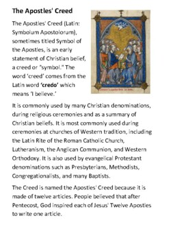 The Apostles' Creed Activity Booklet