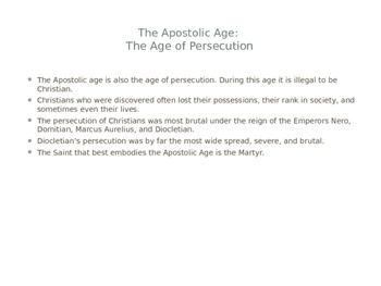 The Apostolic Age of the Church