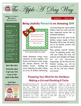 The Apple A Day Way December Newsletter:  Being Joyfully P