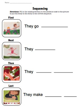 The Apple Pie Tree by Zoe Hall Sequencing Worksheet