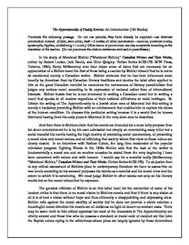 The Apprenticeship of Duddy Kravitz: Three Punctuation Passages