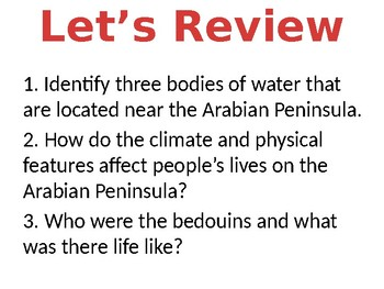 The Arabian Peninsula Lesson