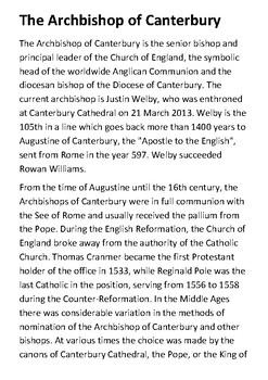 The Archbishop of Canterbury Handout