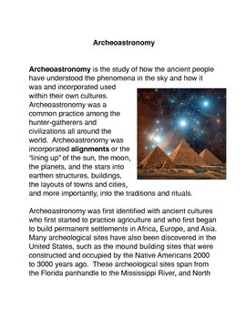 The Archeoastronomy Common Core Reading and Writing Activities