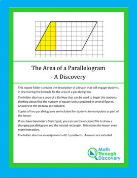 The Area of a Parallelogram - A Discovery