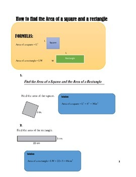 THE AREAS OF SQUARES & RECTANGLES