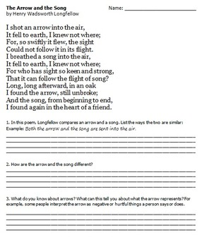 graphic about Printable Arrow identify The Arrow and the Music Poetry Printable
