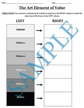 The Art Element of Value Worksheet