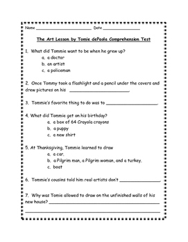 The Art Lesson Comprehension Test
