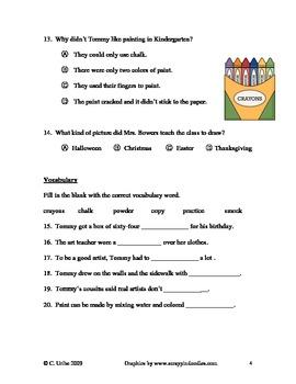 The Art Lesson Reading Comprehension Quiz/Test ~ Houghton Mifflin®
