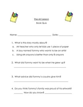 The Art Lesson by Tomie dePaola Guided Reading Packet