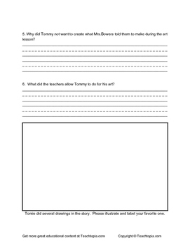 The Art Lesson by Tomie dePaola Reading Response Questions