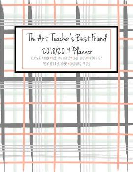 The Art Teacher's Best Friend 2018-2019 Planner (GRAY PEACH PLAID)