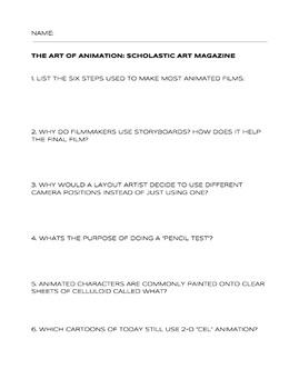 The Art of Animation: Scholastic Art Magazine Worksheet