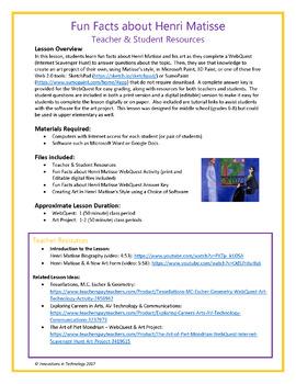 The Art of Henri Matisse - WebQuest / Internet Scavenger Hunt & Art Project