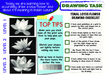 The Art of India-Lotus Flower drawing lesson with Literacy task