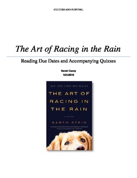 """""""The Art of Racing in the Rain"""" Due Dates and Reading Quizzes"""